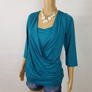 Wrapper XL Turquoise/Blue 3/4 Sleeve Blouse